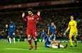 Liverpoolin Mohamed Salah ei vielä tiedä, pääseekö tuulettamaan mestaruutta tällä kaudella. Arkistokuva.
