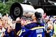 St. Louis Blues juhli Stanley Cupin voittoa viime vuonna. Arkistokuva.