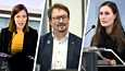 Paikalla tiedotustilaisuudessa ovat pääministeri Sanna Marinin (oik.) lisäksi opetusministeri Li Andersson sekä THL:n johtaja Mika Salminen.