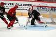 Arizona Coyotesin joukkue valmistautuu harjoitusleirillä NHL-kauden loppuhuipennukseen koronatauon jälkeen.