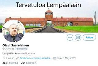 Kuvakaappaus Olavi Saarelaisen Twitter-sivulta.