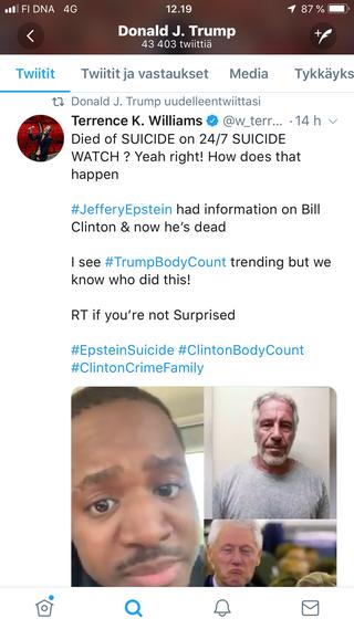 Näyttelijä-koomikko Terrence K. Williams on tunnettu terävästä kielestään. Twitterissä julkaistulla videolla hän väittää Clintonien olevan vastuussa Epsteinin kuolemasta. Trump uudelleentwiittasi videon omalle seinälleen levittäen näin salaliittoteoriaa.