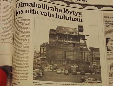 Tammikuussa 2002 Tyrviksessä väläytettiin vanhan kaupungintalon myyntiä yhtenä keinona uimahallirahojen keräämiseksi.