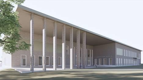 Tältä näyttää Lamminpään koulun uudisrakennuksen pääsisäänkäynti arkkitehdin visiossa.