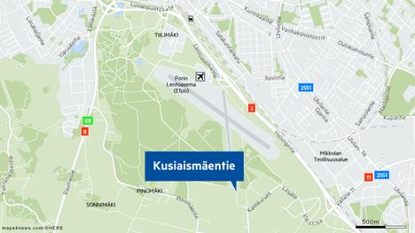 Kusiaismäki sijaitsee lentokentän ja Porin metsän tuntumassa.