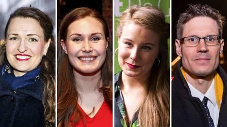 Tässä ovat puolueidensa ykkösnimet Pirkanmaalla: Anna-Kaisa Ikonen (kok.), Sanna Marin (sd.), Iiris Suomela (vihr.) ja Sami Savio (ps.).