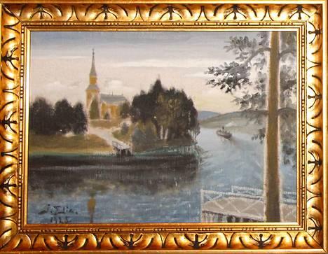 Vilppulan kirkkoa esittävä maalaus on maalattu vuonna 1925, mutta tekijän signeerauksesta ei saa selvää.