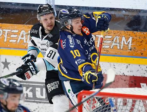 Taavi Vartiainen (vas.) edusti ennen Ilvekseen tuloa Lahden Pelicansia.