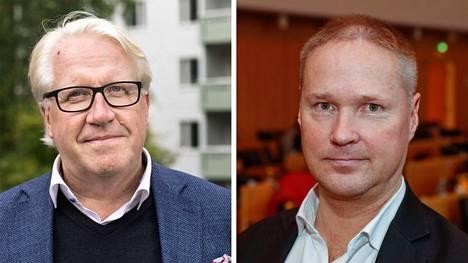 Perussuomalaisten pormestariehdokkaat ovat kansanedustaja Veikko Vallin (vas.) ja perussuomalaisten valtuustoryhmän puheenjohtaja Lassi Kaleva.