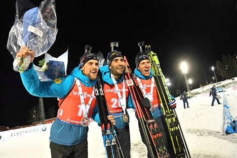 Ranskan miehet ottivat nelosvoiton ampumahiihdon maailmancupissa Östersundissa. Kuvassa 20 kilometrin kisan kolme parasta Simon Desthieux (vas.), Martin Fourcade ja Quentin Fillon Maillet.