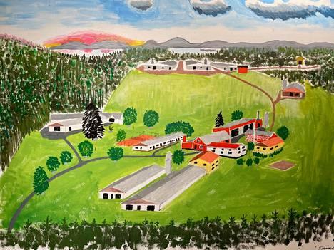 Mäkelän tilaa esittävän taulun pohjana on vanha ilmavalokuva, johon Tauno Mäkelä on lisännyt uudemmat rakennukset.