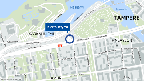 Kiertoliittymää aletaan rakentamaan Näsijärvenkadun ja Paasikivenkadun risteykseen lähellä Särkänniemeä.