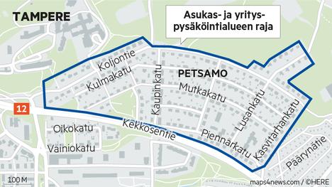 Pysäköintirajoituksia esitetään koko Petsamoon. Omakotiyhdistyksen mukaan niille on tarvetta vain alueen itäpäässä.