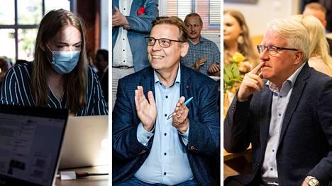 Tampereen vihreiden vaalipäällikkö Tuuli Tomperi (kuvassa vasemmalla), sdp:n jatkokautta hakeva pormestari Lauri Lyly ja perussuomalaisten pormestariehdokas Veikko Vallin seurasivat puolueidensa vaalivalvojaisissa Tampereella.