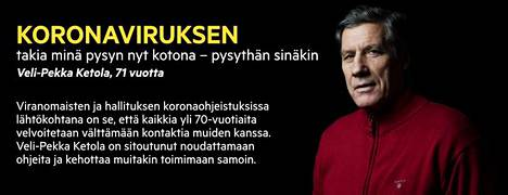 Veli-Pekka Ketola kertoi perjantain Satakunnan Kansan etusivulla pysyvänsä kotona koronaviruksen vuoksi.