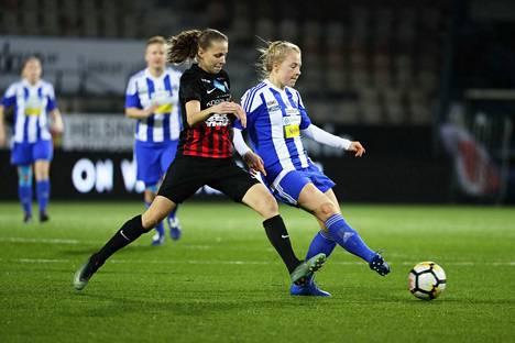 HJK:n naiset voittivat ensimmäisen SM-kultansa sitten vuoden 2005. Arkistokuva viime vuodelta.