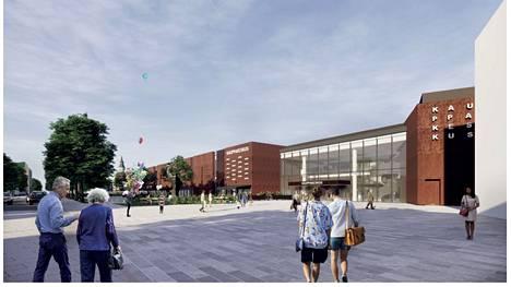 Kanalin kauppakeskuksella on lainvoimainen rakennuslupa. Havainnekuva lupakäsittelyaineistosta alkuvuodelta 2020.