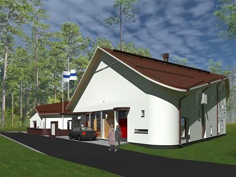 Tältä Sääksjärven uusi seurakuntatalo näyttää arkkitehtitoimiston suunnittelukuvissa.