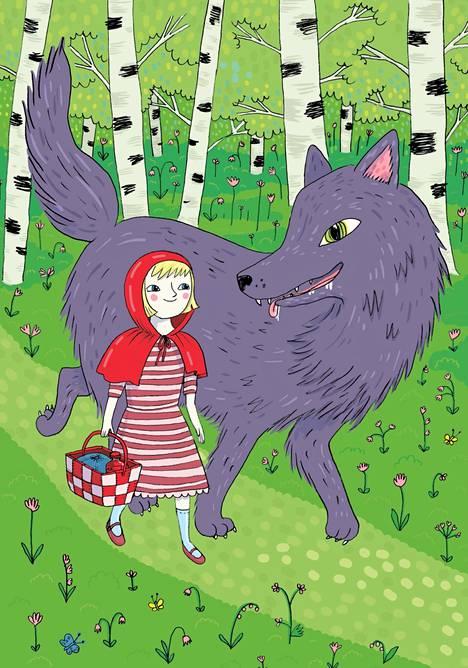 Emmi Jormalaisen kuvituksessa Suomen lasten iltasatuihin (2015) susi ja Punahilkka askeltavat metsässä huolta vailla tasaveroisina kumppaneina.