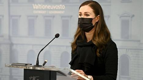 Pääministeri Sanna Marin kertoi Suomen uusista koronatoimista hallituksen tiedotustilaisuudessa Helsingissä 25. helmikuuta 2021.