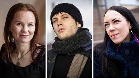 Tulenkantaja-palkinnon ehdokkaita ovat Marisha Rasi-Koskinen (vas), Miki Liukkonen ja Inga Magga yhdessä Lotta Dufvan, Antti Röngän ja Petri Tammisen kanssa.