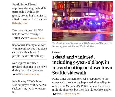 The Seattle Times kertoo ampumisesta etusivullaan. Kuvakaappaus on lehden verkkosivulta.