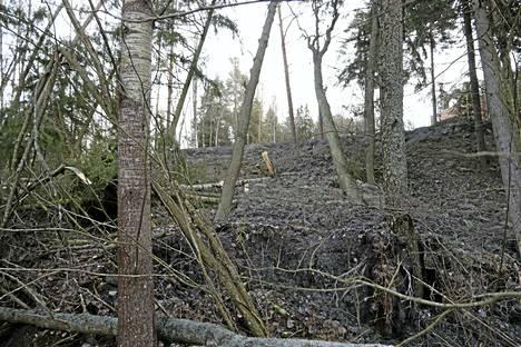 Temppelivuoren sortuma kuvattuna Nesteentien suunnasta.