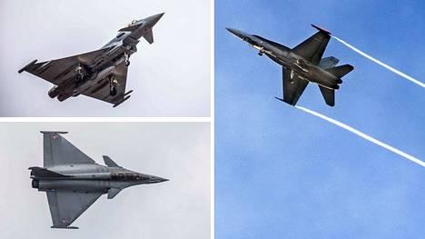 Hävittäjiä testataan nyt Tampere-Pirkkalassa oikein urakalla. Kuvassa oikealla nykyisin Puolustusvoimien käytössä oleva Hornet ja vasemmalla testiin ensimmäisinä tulevat Eurofighter Typhoon ja Dassault Rafale.