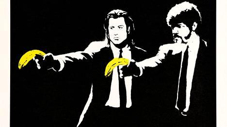 Maailmankuulun katutaiteilijan Banksyn teos Pulp Fiction on vuodelta 2004.