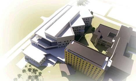 Havainnekuva. Entisen synnytysosaston tilalle rakennetaan modernit tilat psykiatrian osastohoidolle.