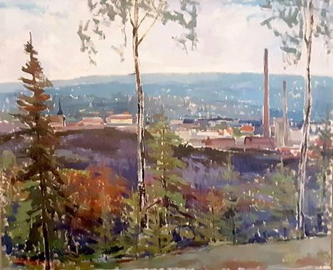 Unto Liettyä maalasi näkymiä Mäntänvuoresta vuonna 1951.