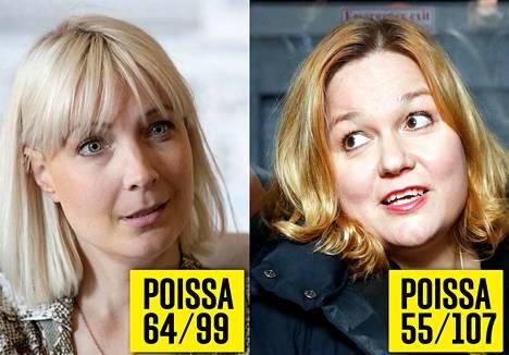 Laura Huhtasaari (ps.) ja Krista Kiuru (sd.) ovat joutuneet olemaan usein pois kokouksista.