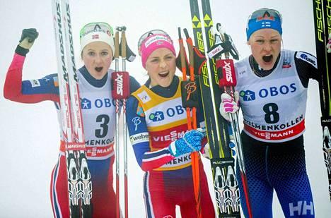 Holmenkollenin iloinen kärkikolmikko:  Ingvild Flugstad Östberg, Therese Johaug ja Anne Kyllönen.