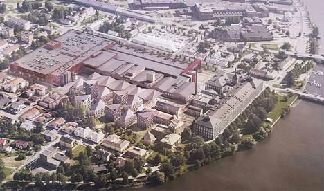 Tällainen on Porin Puuvillan kaupunkikorttelin arkkitehtikilpailun voittanut ehdotus.