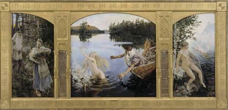 Ateneumin Akseli Gallen-Kallelan Aino-taru, triptyykki vuodelta 1891 löytyy Suomen taiteen tarina -kokoelmanäyttelystä Helsingistä.