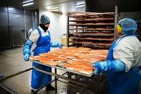 Kalaneuvos oy:n Sastamalan tuotantolaitoksessa Kati Huoponen (oik.) ja Suvi Sievari asettavat kirjolohifileitä täynnä olevat ritilät vaunuun, joka seuraavaksi siirretään savustusuuniin.