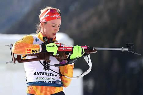 Ex-hiihtäjä Denise Herrmann on yksi maailman parhaista ampumahiihtäjistä.