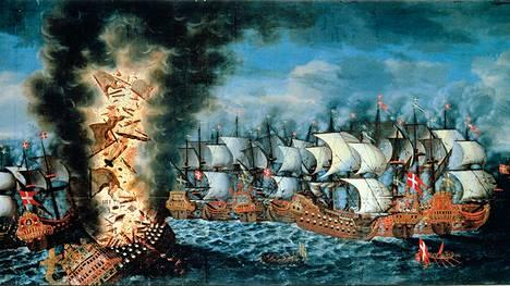 Tanskalaisen Claus Møinichenin komea maalaus kuvaa Kronanin räjähdystä Öölannin taistelussa 1. kesäkuuta 1676.