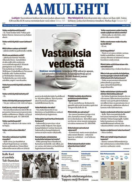 Nokian syksyn 2007 vesikriisi oli näkyvästi esillä Aamulehdessä. Sanomalehtien Liitto palkitsi poikkeuksellisen etusivun vuoden parhaana juttuna.
