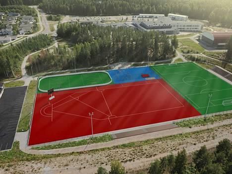 Havainnekuva näyttää suuntaa-antavasti, miltä Nokian Harjuniityn liikuntapuisto näyttää valmiina. Tämän hetkisen arvion mukaan liikuntapuisto valmistuu kokonaisuudessaan vielä tämän vuoden puolella.