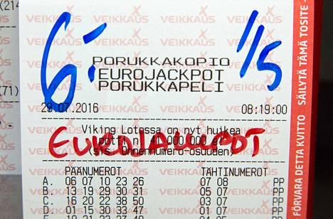Eurojackpotin päävoitto Suomeen.