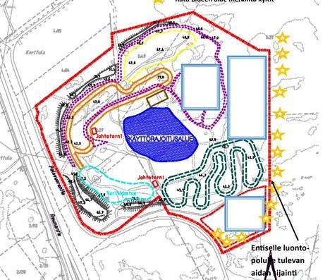 Raision moottorirata-alueen kartta.