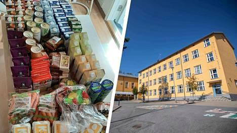 Ruokakassista riittää useammaksi viikoksi. Ruokakasseja jaettiin esimerkiksi Siivikkalan koululla.