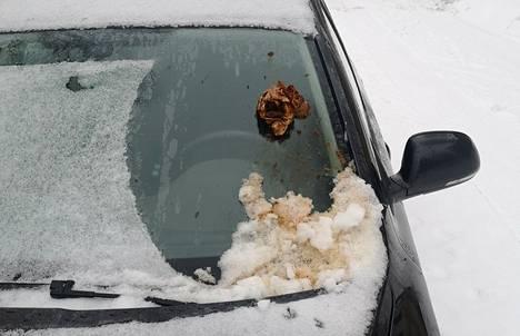Viikonloppuna Hallilassa töhrittiin useita autoja. Kuvan auton tuulilasissa kakka oli suodatinpussissa. Auton omistaja poisti ensin isommat jätökset kepin avulla ja sen jälkeen pesetti auton.