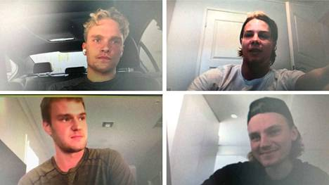 Mikko Rantanen (vas. ylh.), Miro Heiskane, Aleksander Barkov (vas. alh.) ja Roope Hintz kertoivat kuulumisistaan torstaina.