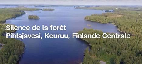 Pihlajavesi esittäytyy ilmasta kuvatulla videolla Suomi-näyttelyssä Nizzassa.