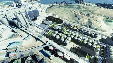 Havainnekuvassa BioEnergon jalostamo on piirretty Venatorilta vapautuvan tontin kulmaan.