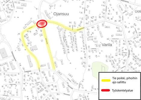 Kartalla näytetään vaikutukset, joita katutyömaa aiheuttaa lähialueilla.