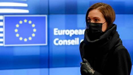 Suomen pääministeri Sanna Marin (sd.) osallistuu EU-johtajien huippukokoukseen Brysselissä. Marin kuvattiin 22. lokakuuta.