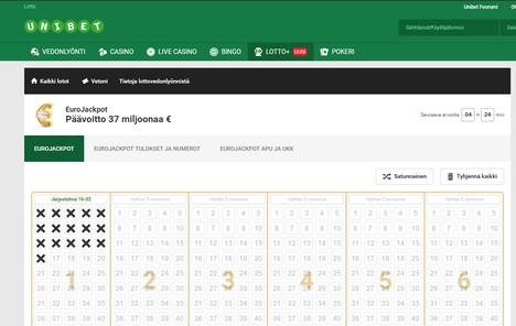 Unibetin Eurojackpot-lottovedonlyönnissä voi esimerkiksi valita yhteen kuponkiin 16 numeroa. Yhtiö ei käytä pelin markkinoinnissa sen virallista logoa, vaan mukaelmaa.